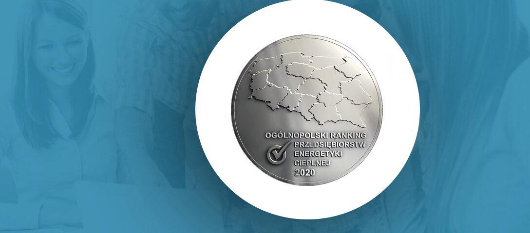 Grafika przedstawia medal Ogólnopolskiego Rankingu Przedsiębiorstw Energetyki Cieplnej