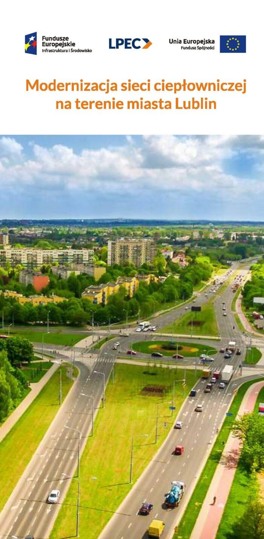 Grafika przedstawia okładkę ulotki modernizacja sieci ciepłowniczej na terenie miasta Lublin